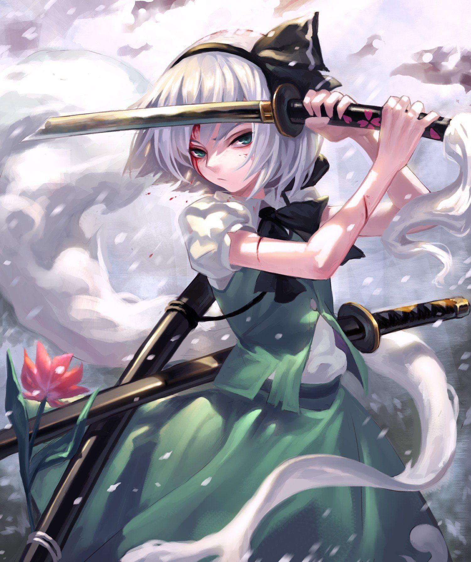 short hair Green eyes Anime Anime girls Gray hair Sword Weapon