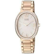 WATCH CITIZEN ECO-DRIVE LADIES OVAL WHITE DIAL ROSE GOLD CASE DIAMOND SET WITH ROSE GOLD BRACELET W/R - Jons Family Jewellers