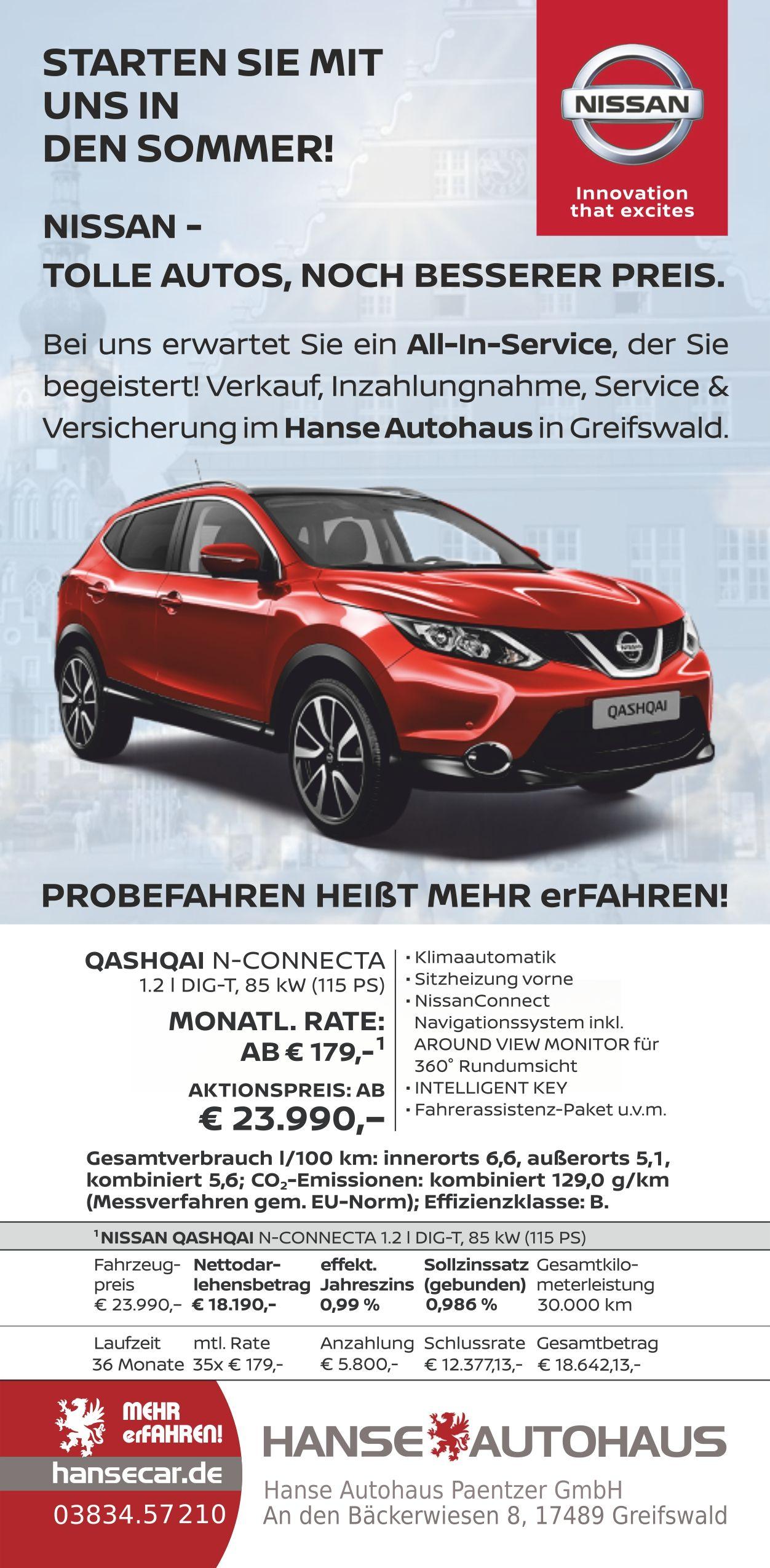 Anzeige Fur Hanse Autohaus In Greifswald NISSAN