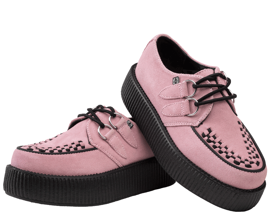 Baby Pink Suede Viva Mondo Creepers   T.U.K. Shoes