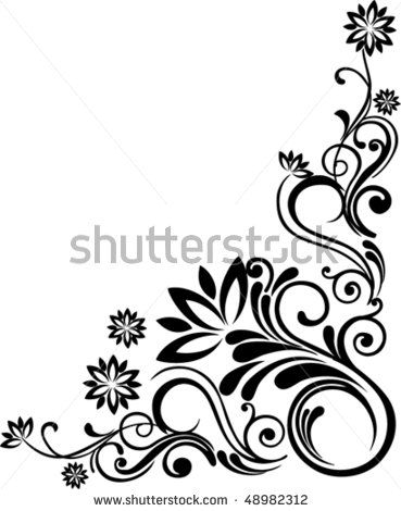 Floral Drawing Of Corner Decorative Background Vector By Kalenik