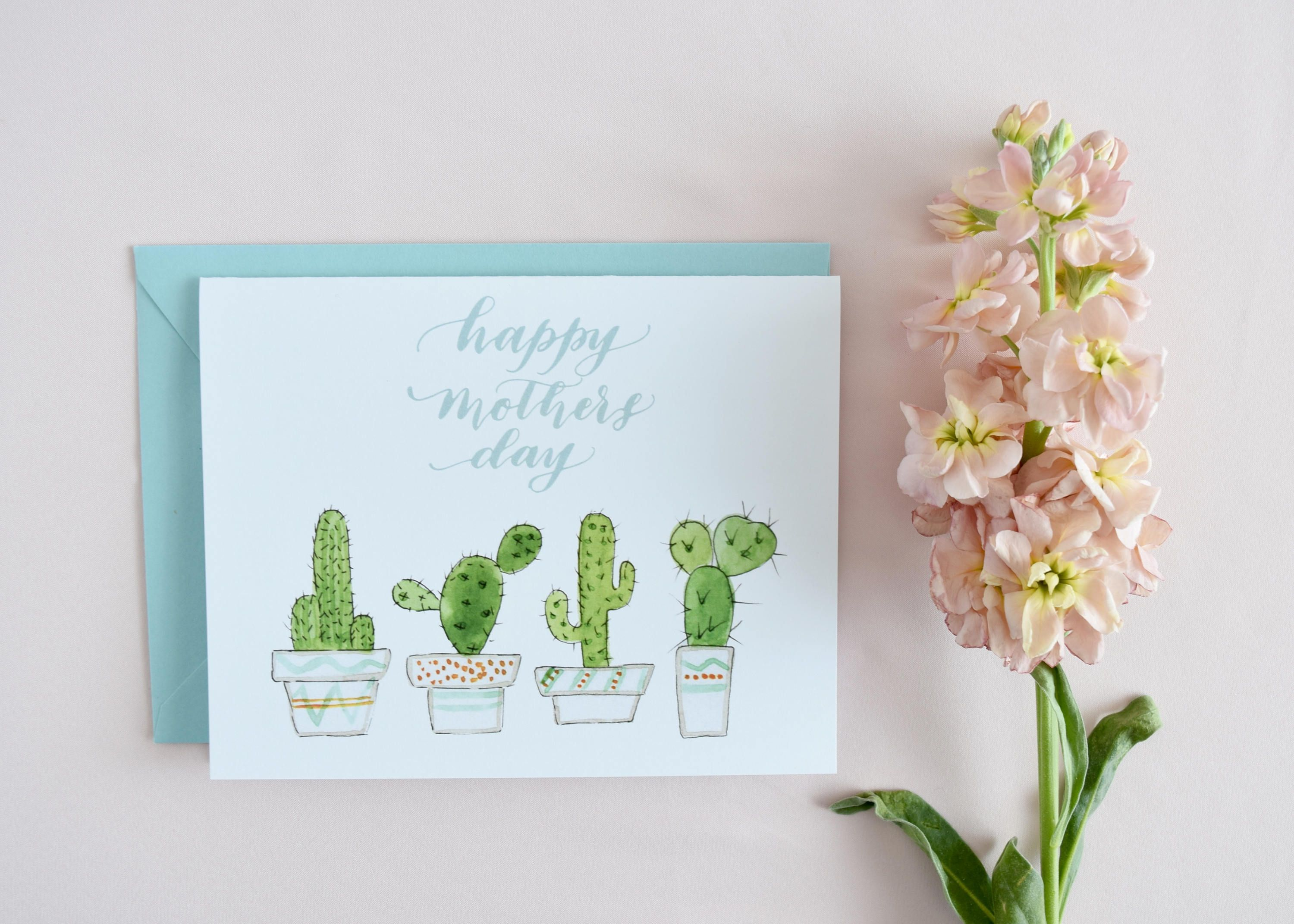 Happy mothers day cactus illustration mothers day card
