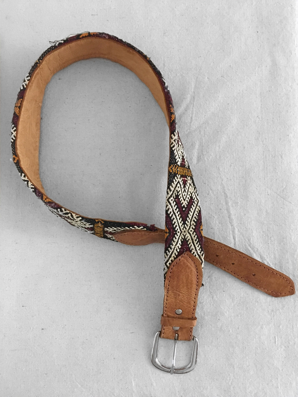 70s Kilim Leather Belt In Burgundy Turmeric Coal Leather Belt Leather Metal Buckles