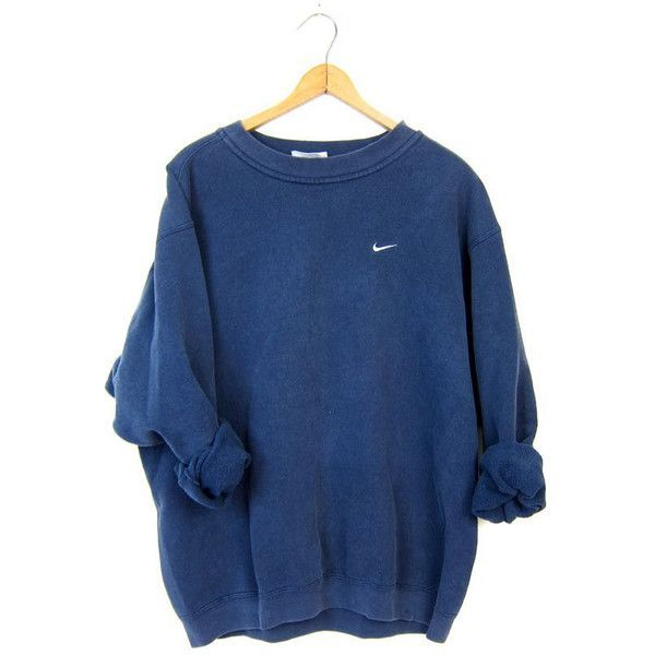08f80fbf070 Vintage Navy Blue NIKE Sweatshirt Slouchy ATHLETICS Work Out Sports...  ( 32) ❤ liked on Polyvore featuring tops