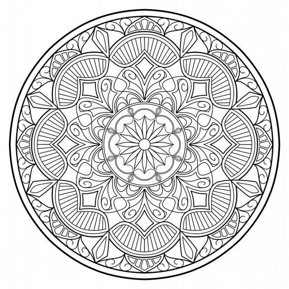 Mandala AD_25: Geometric, Coloring page - PDF Download | Products ...