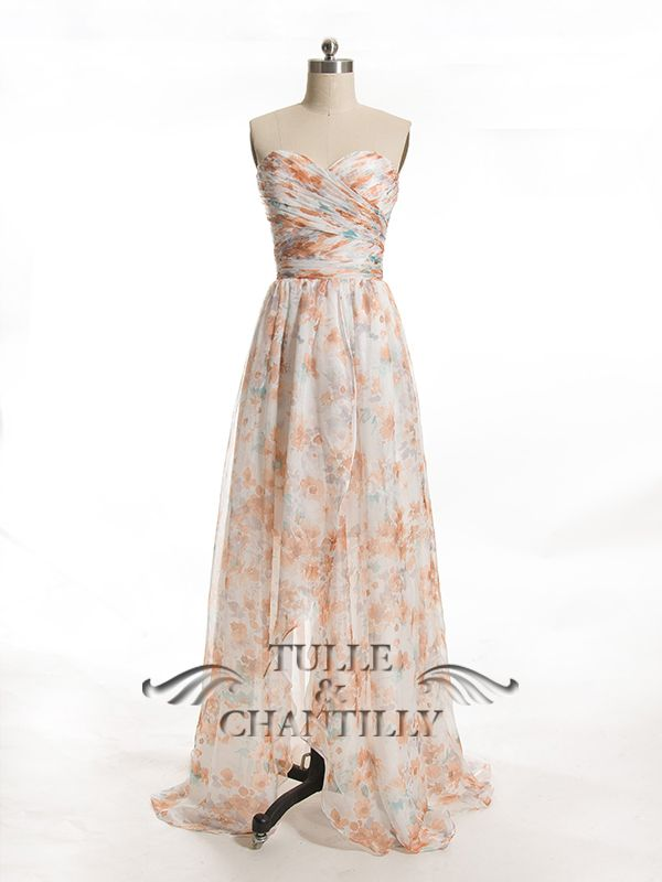 b93cb333b Long Floral Printed Sweetheart Chiffon Bridesmaid Dresses with Slit ...