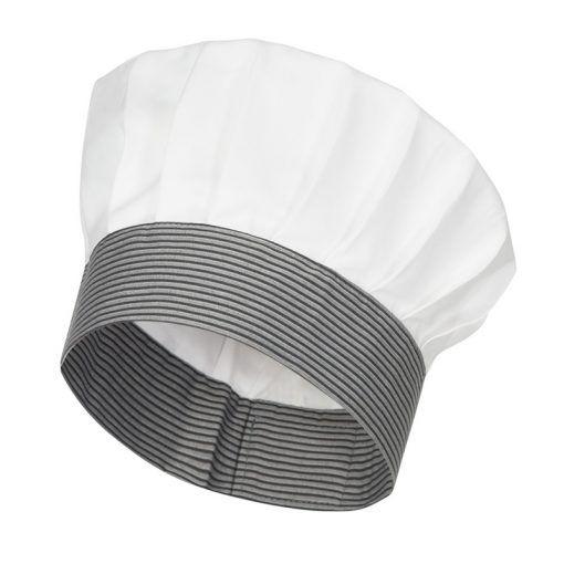 Gorro de cocinero blanco con adorno de rayas. Gorro tipo seta. Trincha  rayada de 1189acc998e