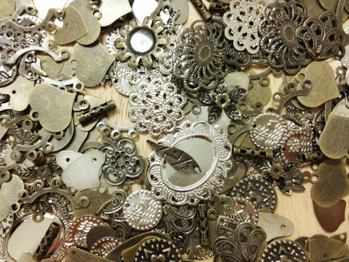 100 Piece Antique Bronze and Silver Mixed Filigree Flower Round Heart Connector Charm Pendant Tibetan Style Jewelry Findings PepperLonely http://www.amazon.com/dp/B00FR10DEK/ref=cm_sw_r_pi_dp_LYD-tb0VQKFRY