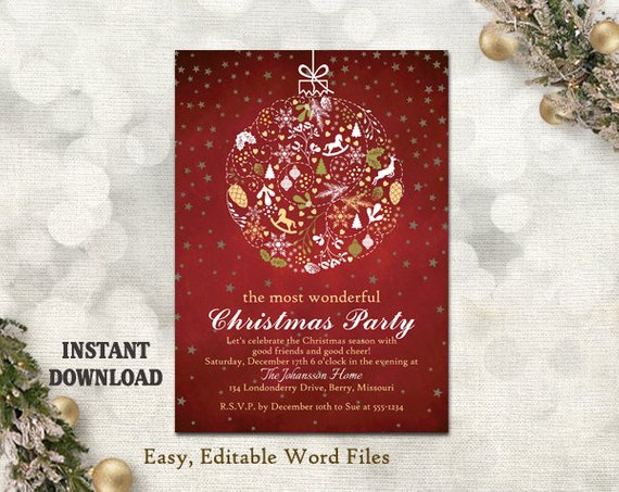 Christmas Party Invitation Card Chalkboard Printable Etsy Christmas Party Invitations Christmas Party Invitation Template Party Invite Template