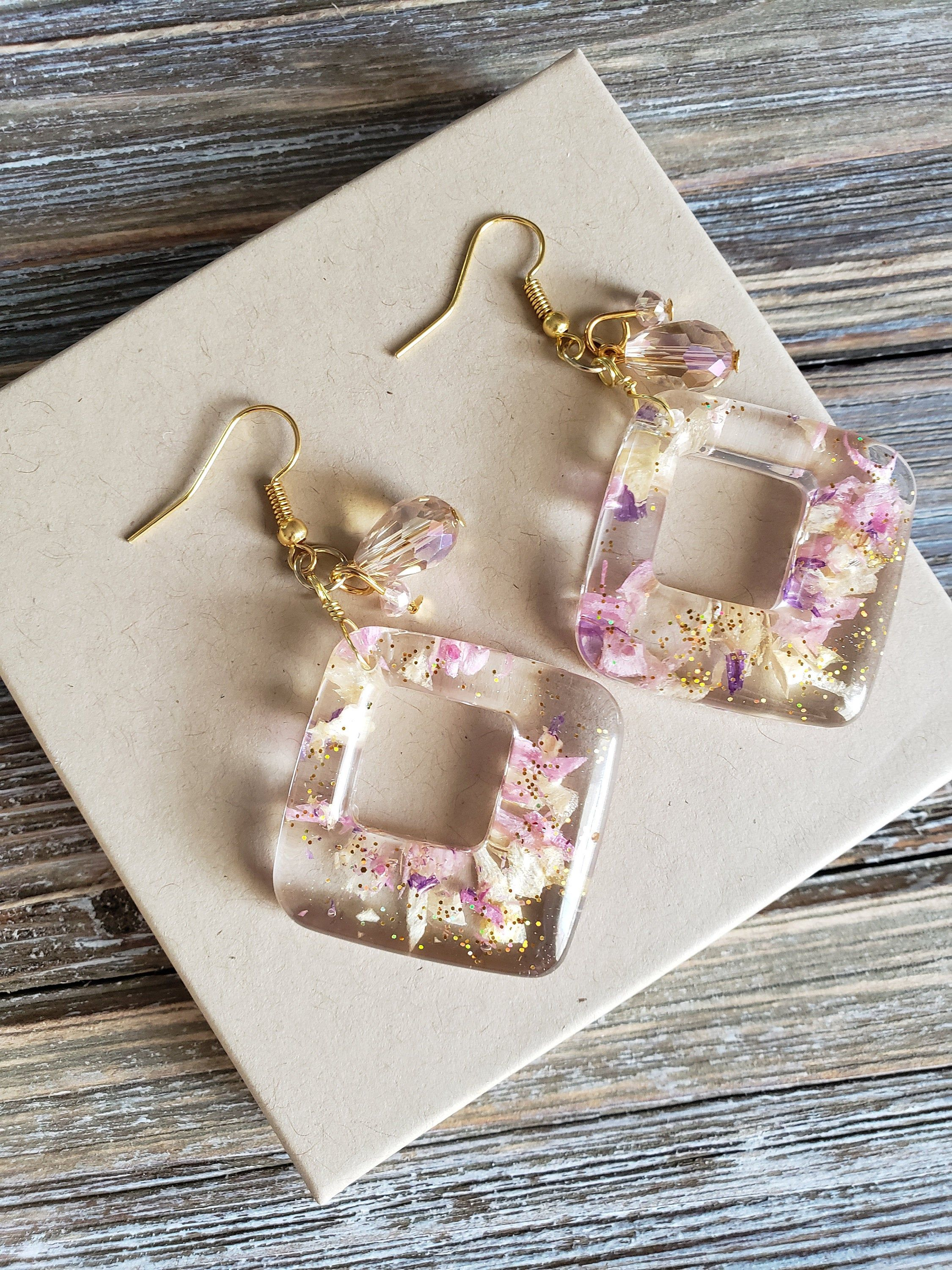 Hand Painted Earrings Square Dangles Resin Earrings Pink Earrings Pink Dangles Hand Painted Jewellery Pink Jewellery
