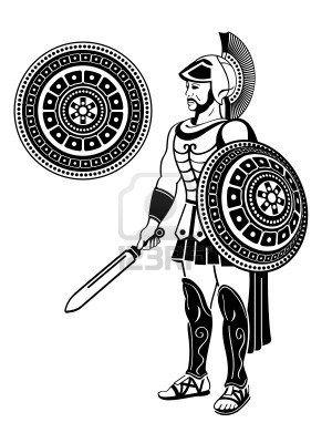 Guerrero Romano Con Espada Y Escudo Decorado Guerreros Romanos Soldados Romanos Roma Antigua