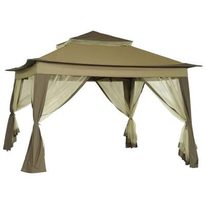 Sunjoy Portia 10 Ft X 10 Ft Beige Portable Pop Up Gazebo With Mosquito Netting 110111002 The Home Depot Portable Gazebo Canopy Outdoor Gazebo Canopy