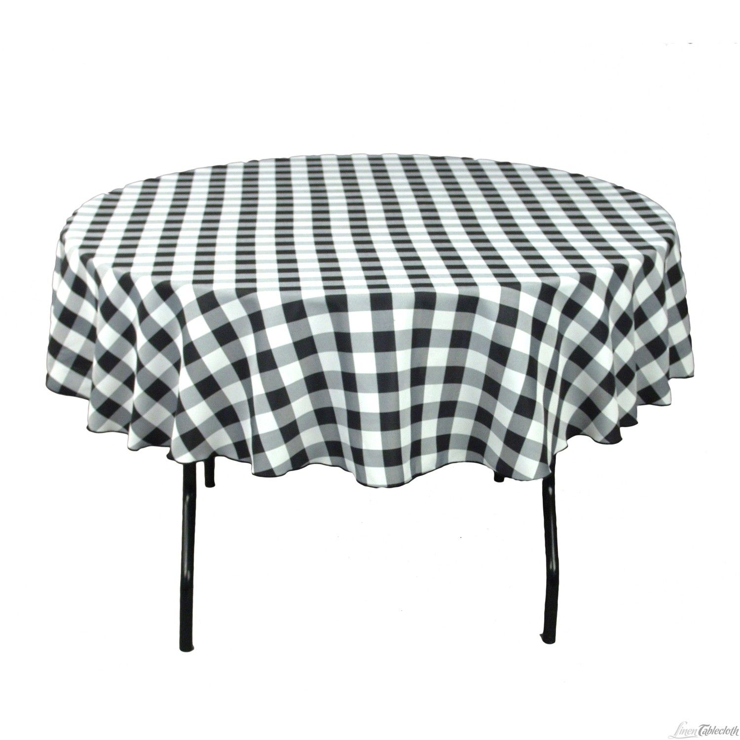 70-Inch Round Polyester Tablecloth Black /& White Checker NEW