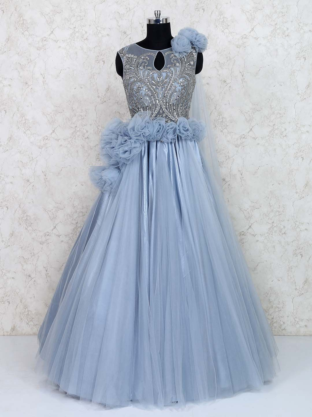 Blue Hued Wedding Wear Net Gown Designer Women Gown For Wedding Designer Women For Function Late In 2020 Indian Wedding Gowns Gown Party Wear Indian Fashion Dresses