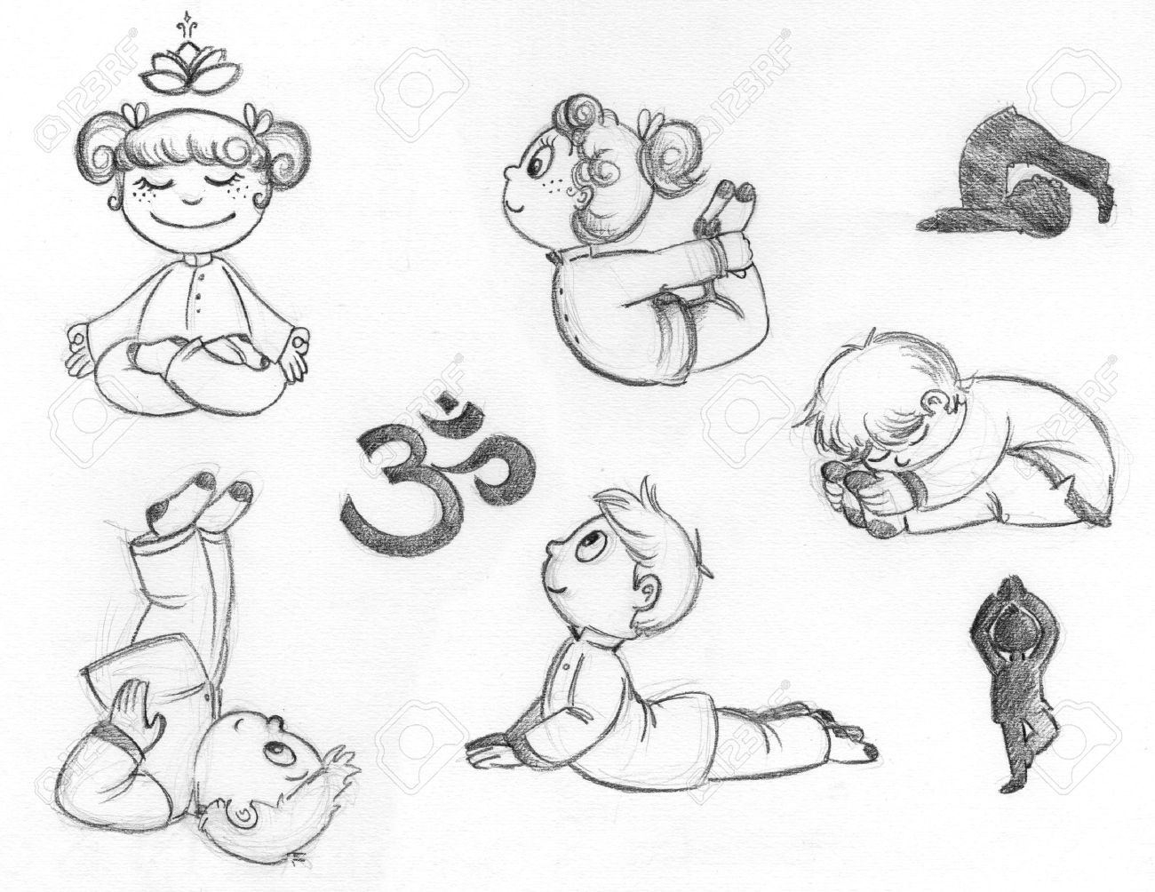 17540636-Kleine-Kinder-ben-Yoga-Positionen-Hand-gezeichnete ...
