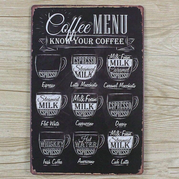 Coffee menu know your coffee cafeer cafe menu skilt