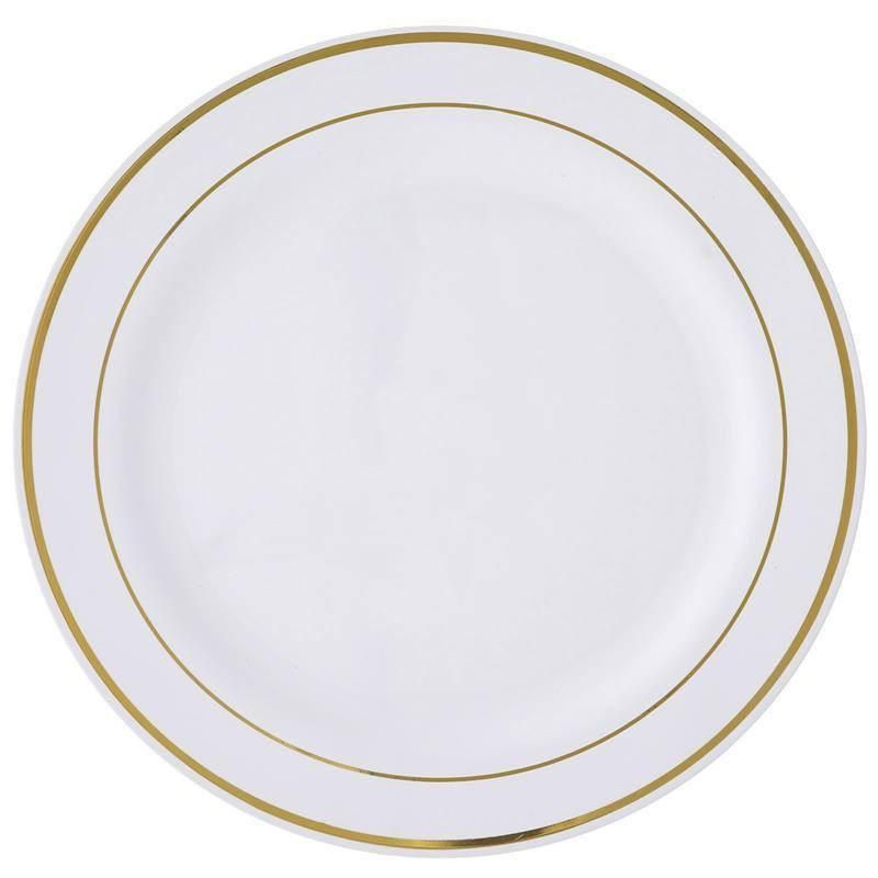 10 Pack 10 White Round Disposable Plastic Dinner Plates With Gold Rim Disposable Tableware White Plastic Plates Gold Rims