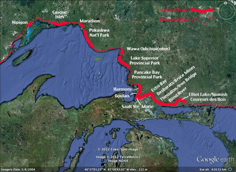 Map of the Voyageur Trail Pukaskwa and Superior Pinterest Lake