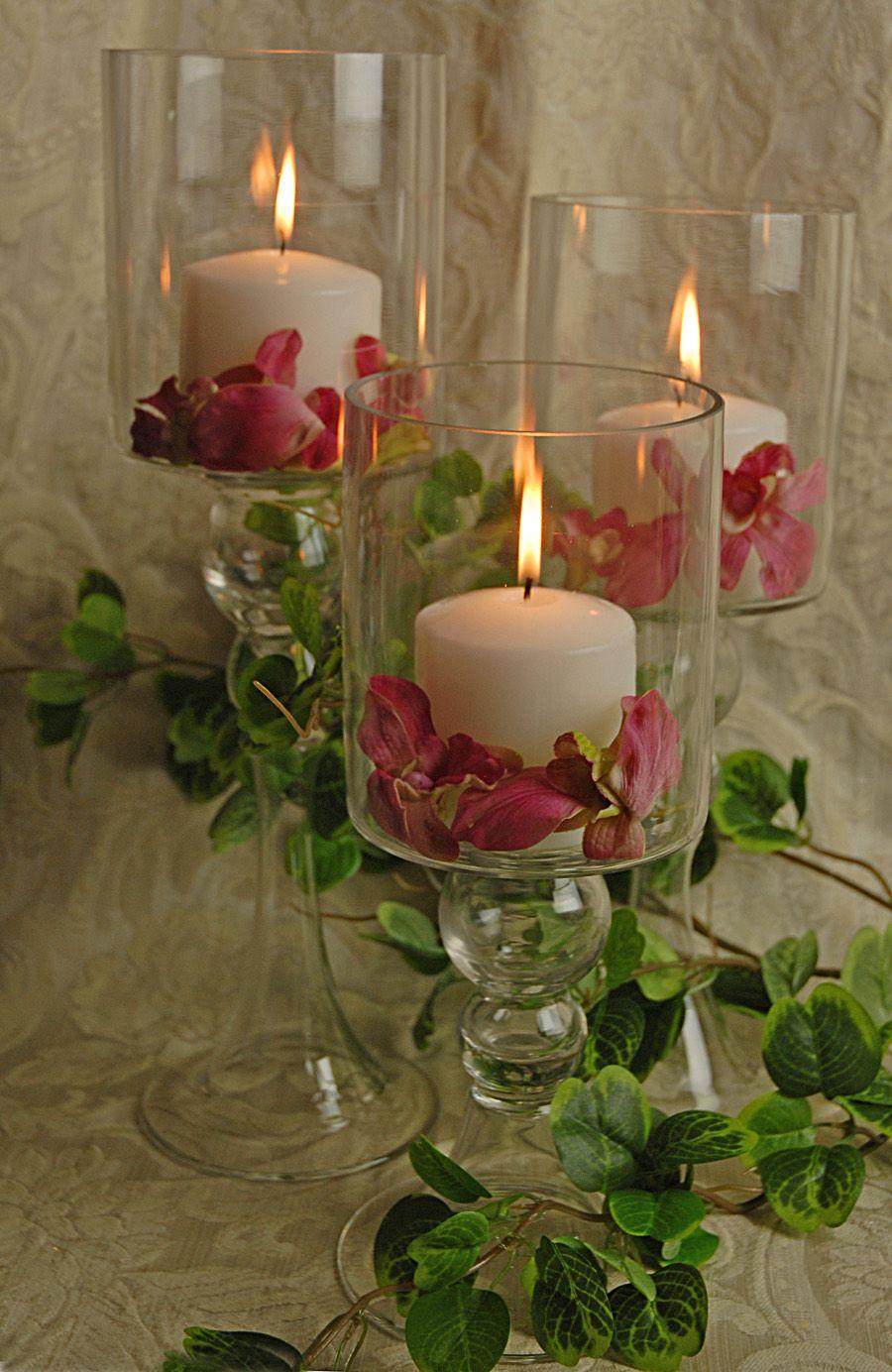 Glass pillar candle holders holder set