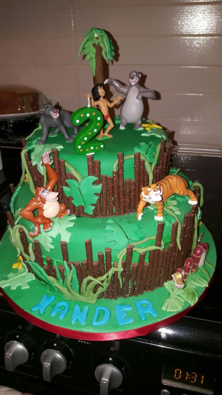 Jungle book cake Anisha Pinterest Book cakes Cake and Jungle cake