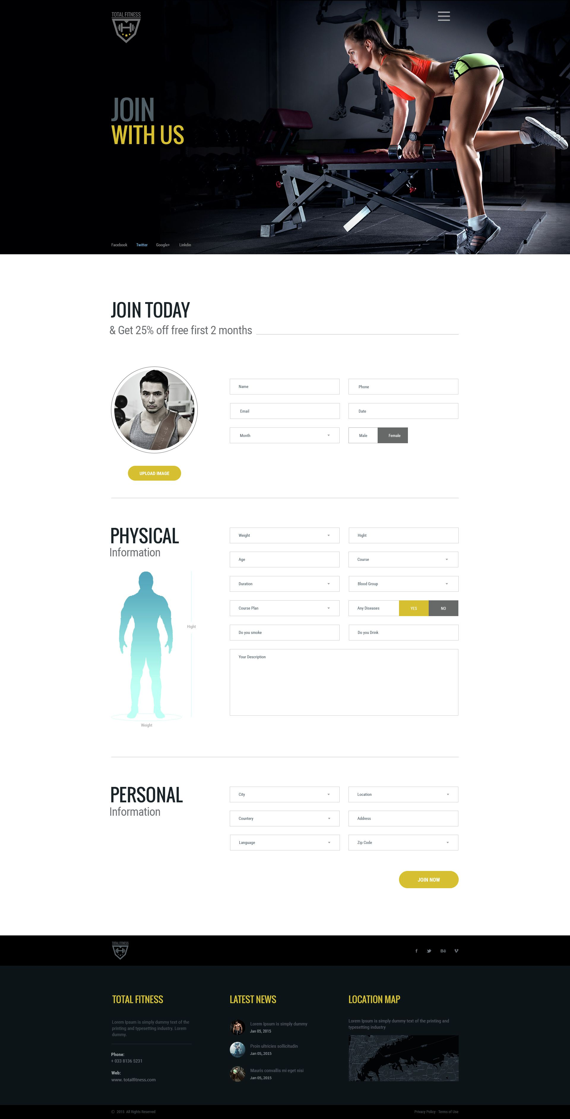 Total Fitness All In One Fitness Psd Template By 0effortthemes