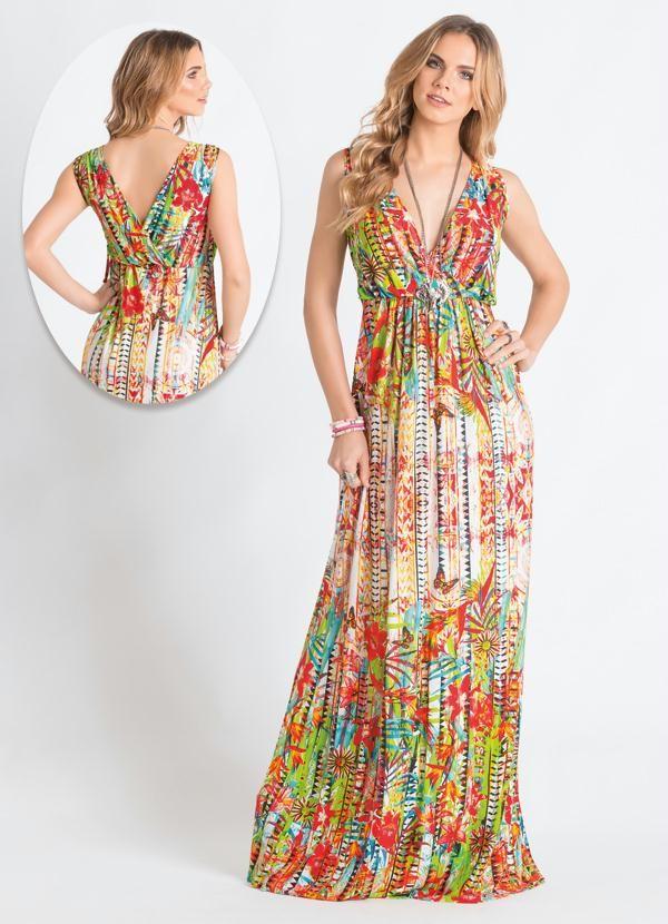 Vestido longo estampado etnico