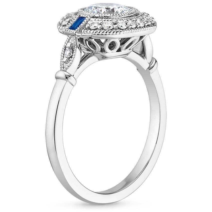 Platinum Ostara Sapphire and Diamond Ring, top view