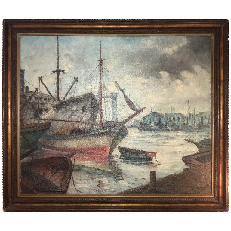 Signed 19th or early 20th century oil painting boats docked at the port. This finely detailed oil on canvas depicts several boats and fishing vessels docked at the port on a cloudy day. Set in a custom gilt gold and ebony frame signed in the lower left hand corner.