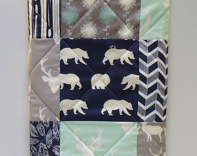 Rustic Baby Boy Quilt Blue Woodland Nursery Gray Bedding Modern Patchwork With Deer Elk Bear Buck Antlers Arrows