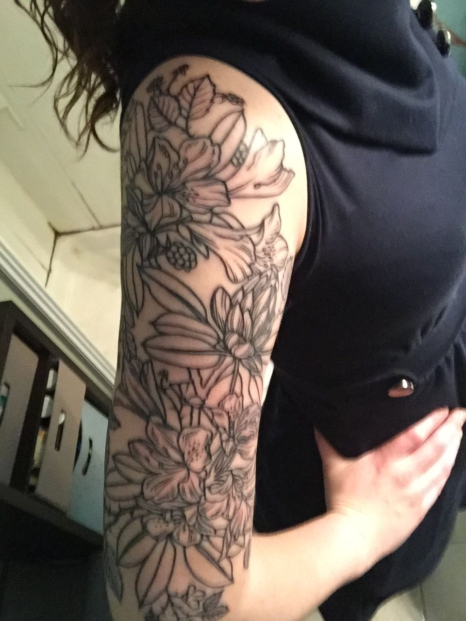 Floral/rhododendron tattoo with blackberries! Tattoos, I