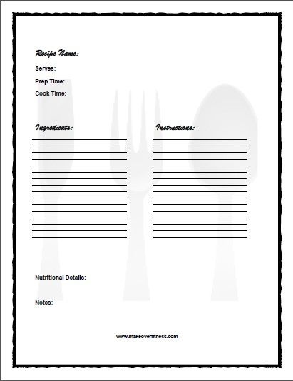 Printable recipe journal book with recipe templates