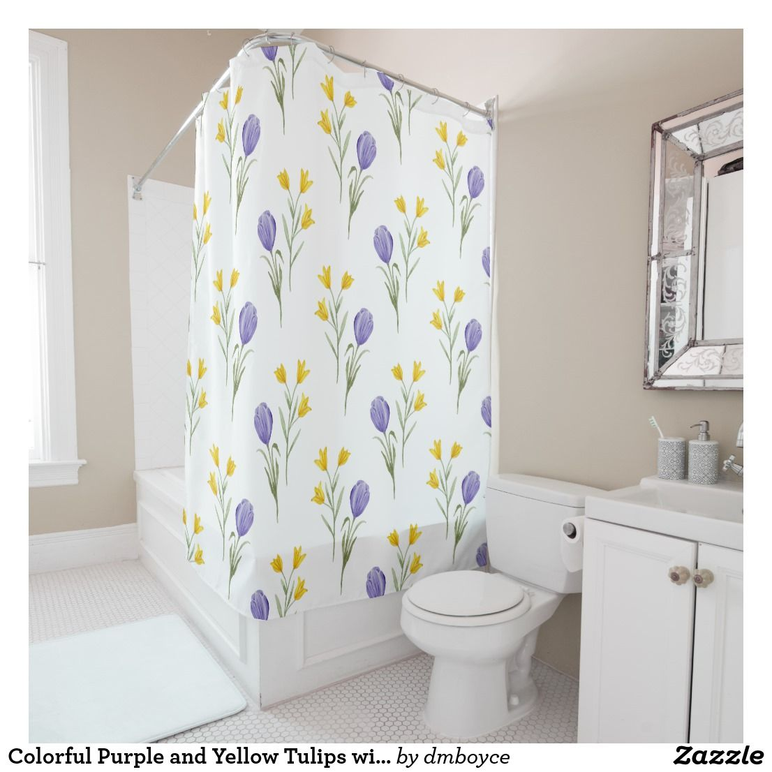 Colorful Purple And Yellow Tulips With Greenery Shower Curtain