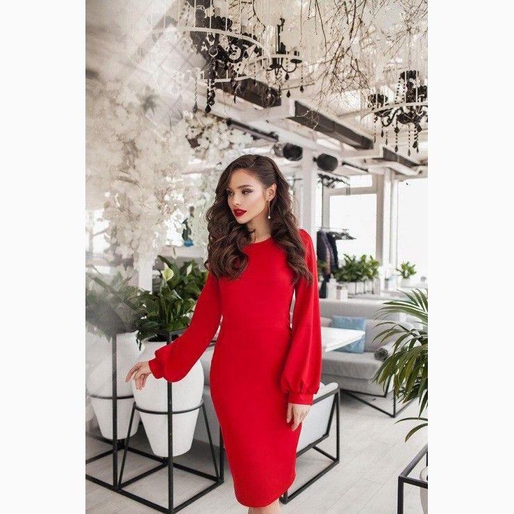 Kneelength dress wide sleeves in red knee length dress