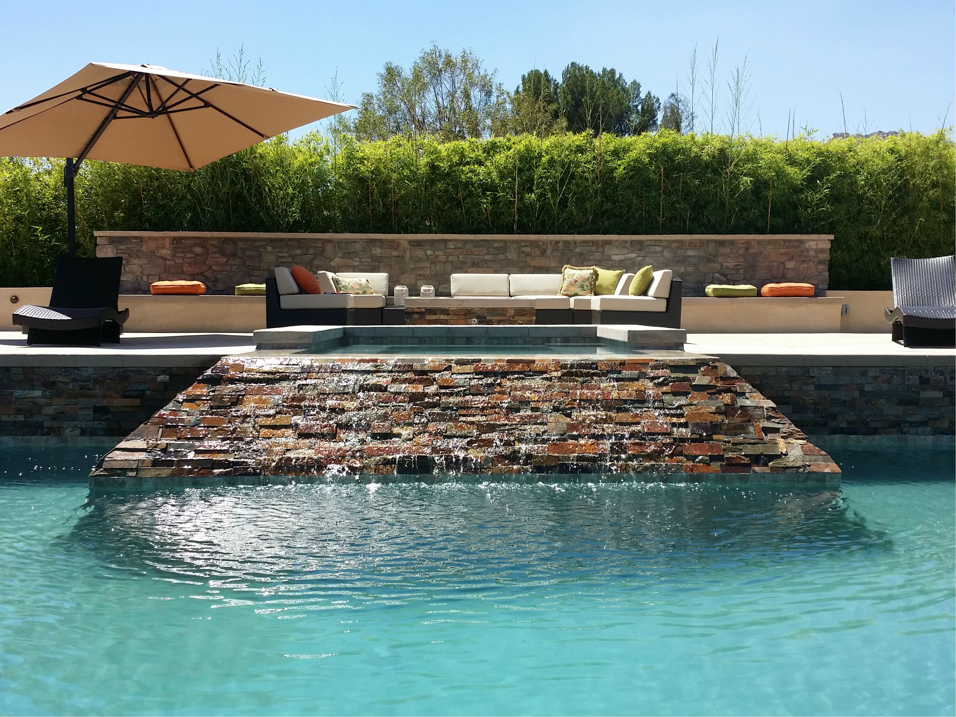 Large Pool Space Waterfall Feature Fire Features And Outdoor Seating Area Los Angeles Ca Www Inte Backyard Renovations Custom Backyard Outdoor Seating Areas