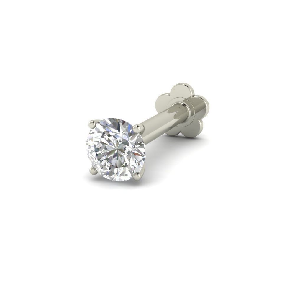2mm 18k White Gold Diamond Solitaire Lip Labret Nose Screw Piercing