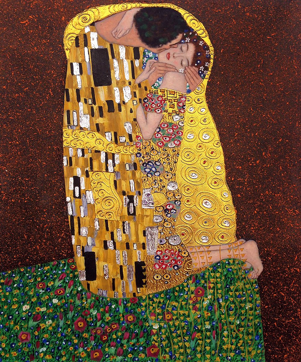 the kiss by gustav klimt placed 4th on 2014 top 10 list hand painted. Black Bedroom Furniture Sets. Home Design Ideas