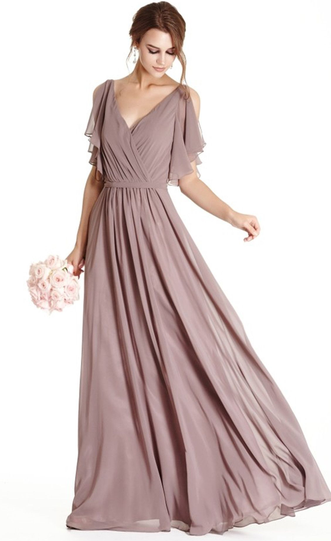 Serendipity dusty mauve flutter sleeve dress flutter for Flutter sleeve wedding dress