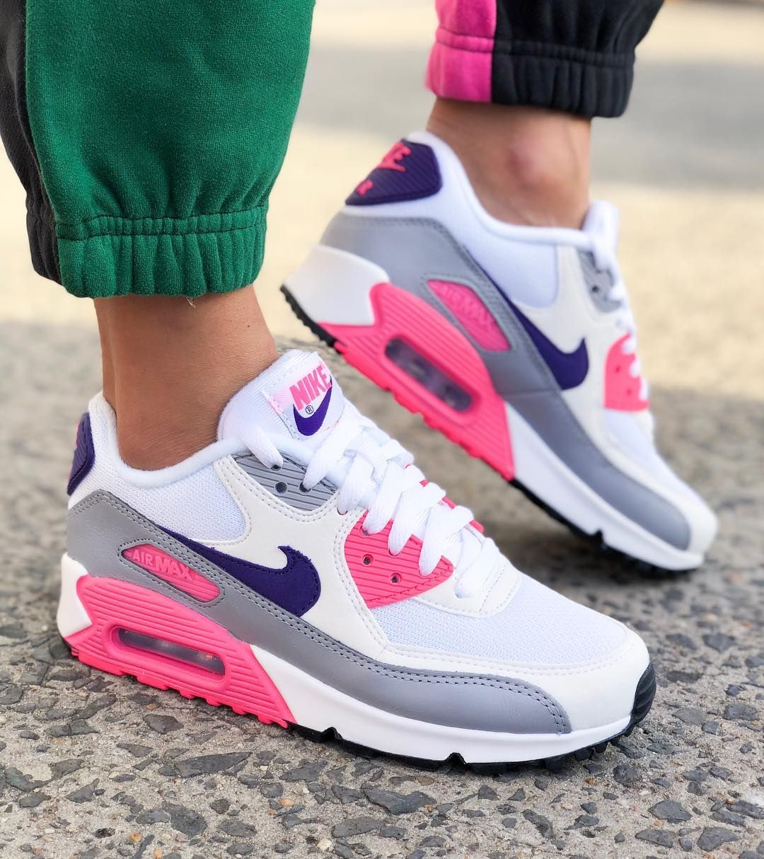 Nike Air Max 90  White Purple Grey Pink  Rematch is part of Nike air max 90 white - We take a look at this classic Nike Air Max 90 women's shoe in a winning colour combination of white, purple, grey and pink