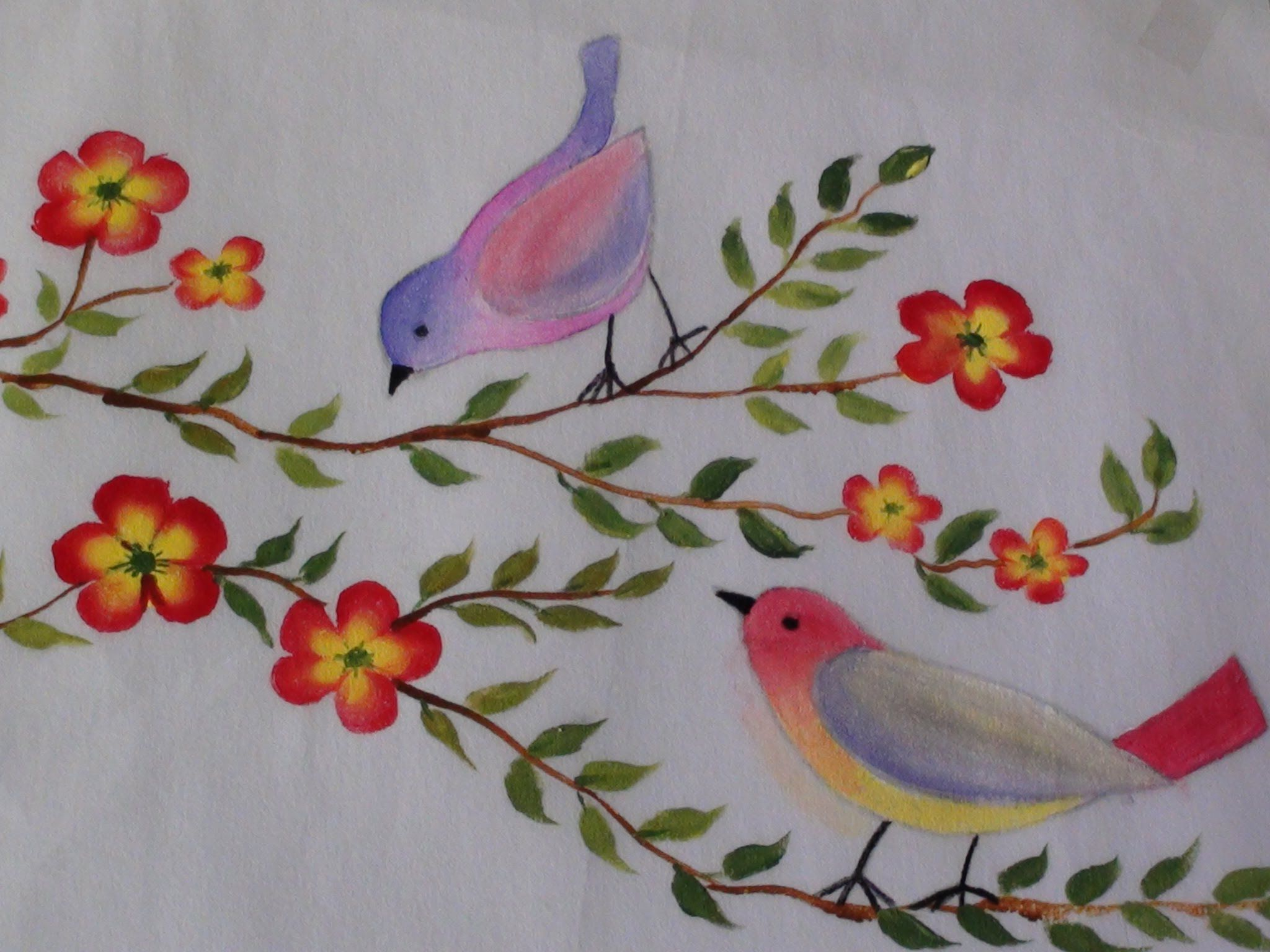 Bed sheets designs fabric painting - Birds And Flowers Fabric Painting Tutorial 14 Youtube