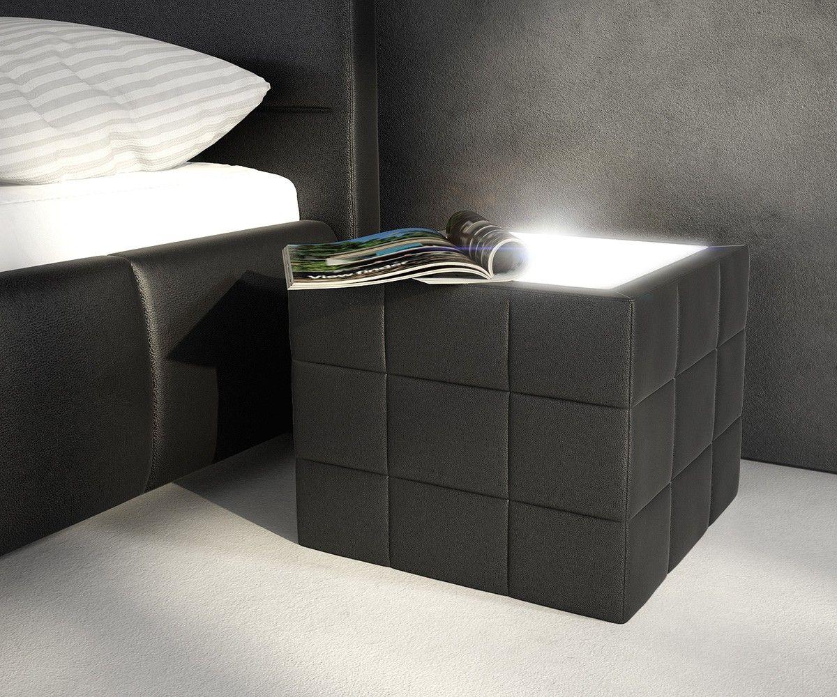 Nachtkonsole Schwarz nachttisch nuncia 41x41cm schwarz beleuchtung steppnaht betten zum