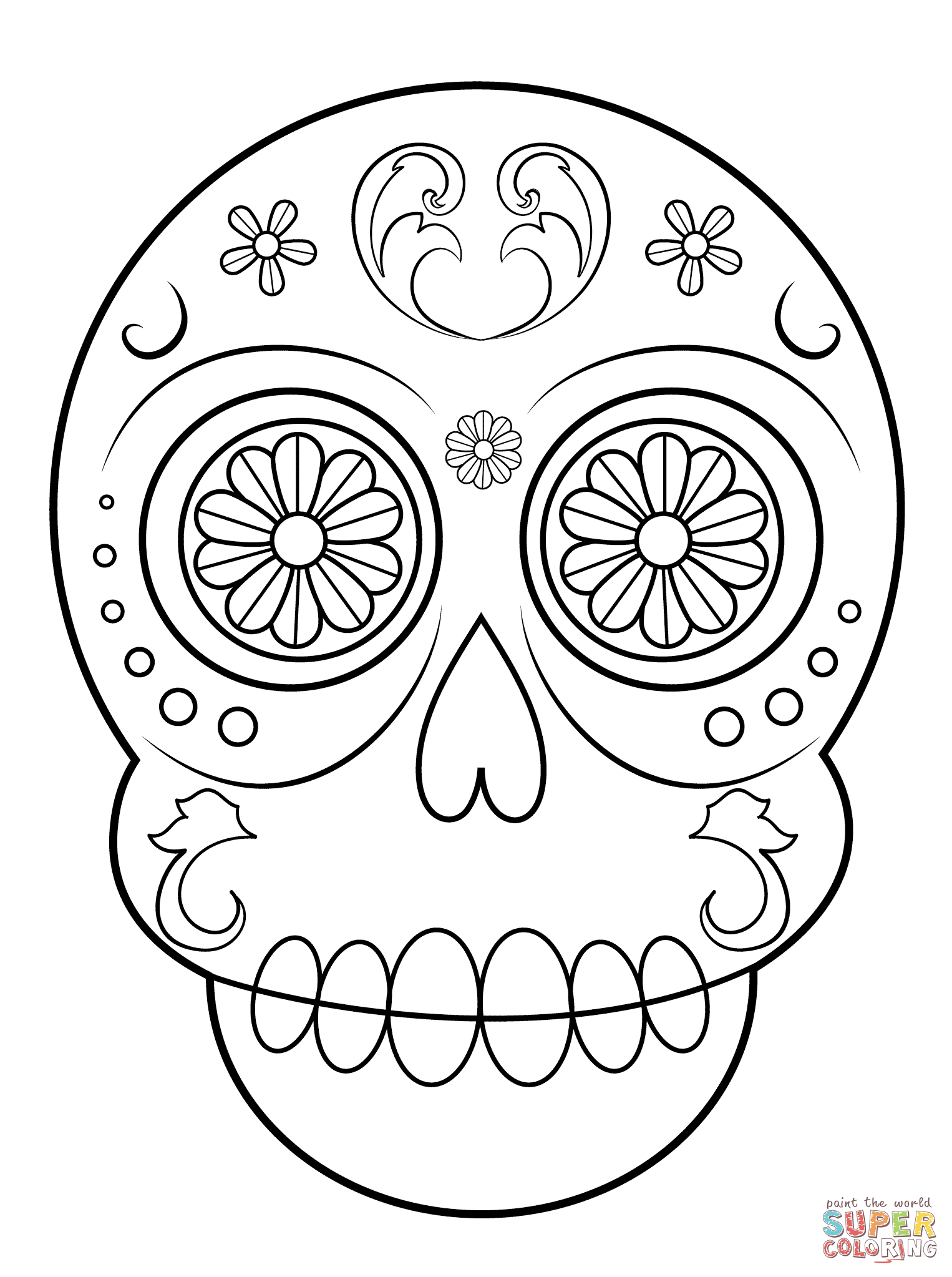 Simple Sugar Skull coloring page from Sugar Skulls category. Select ...