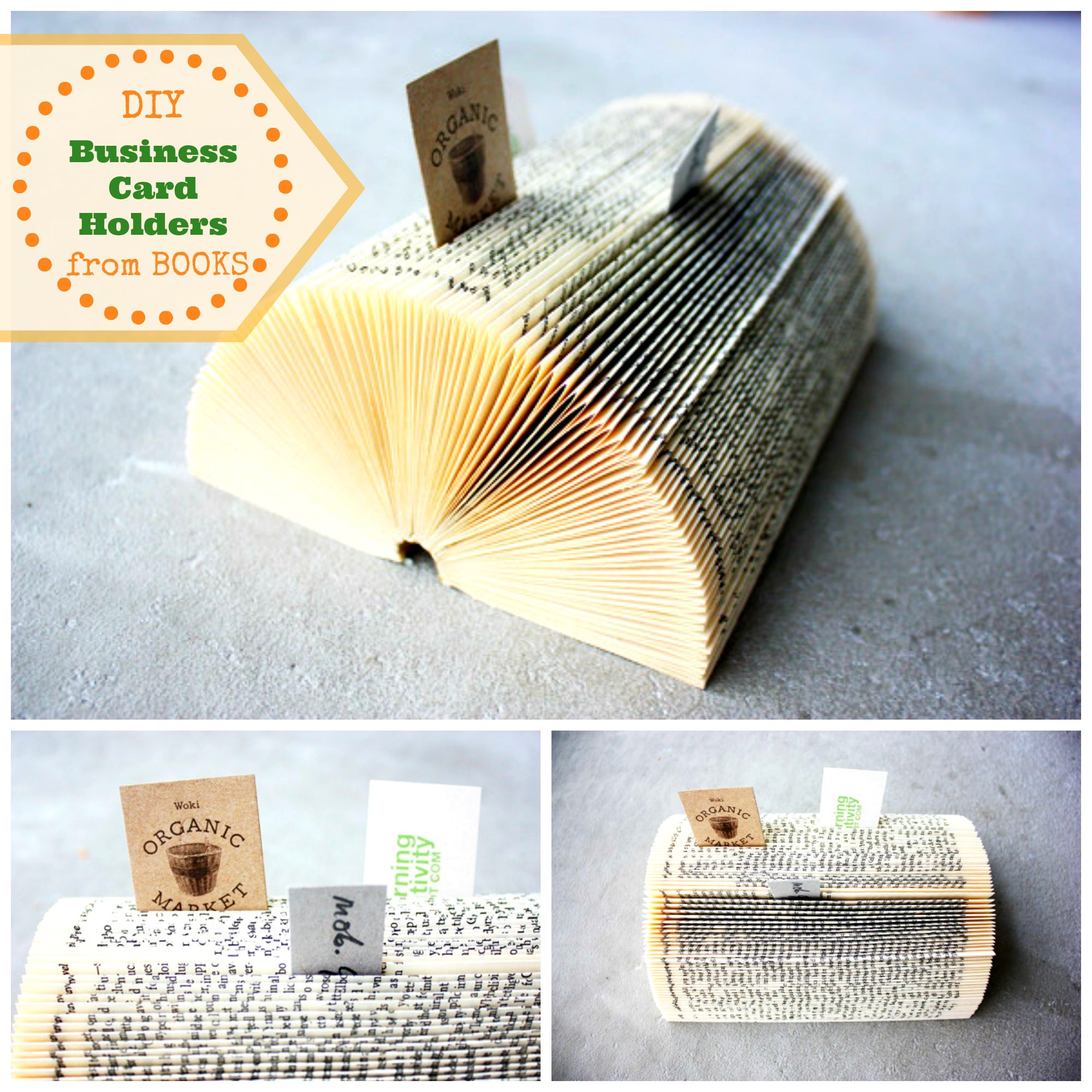 How To Make A Diy Business Card Holder From An Old Book In 5 Diy Tutorials Crafts Organizer Diy Business Cards Diy Book Business Card Displays