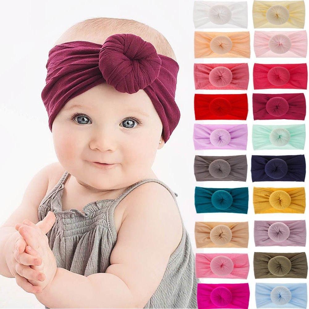 Turban Head Wraps Girls Baby Knotted Big Bow Headband Nylon Hairband
