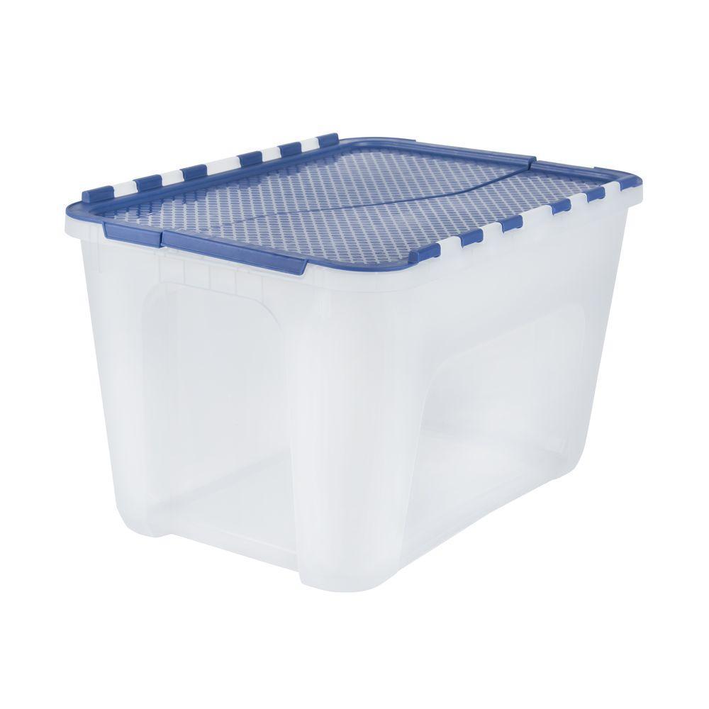 Hdx 4 Gal Clear Storage Bin With Blue Flip Top 17200552 Tote
