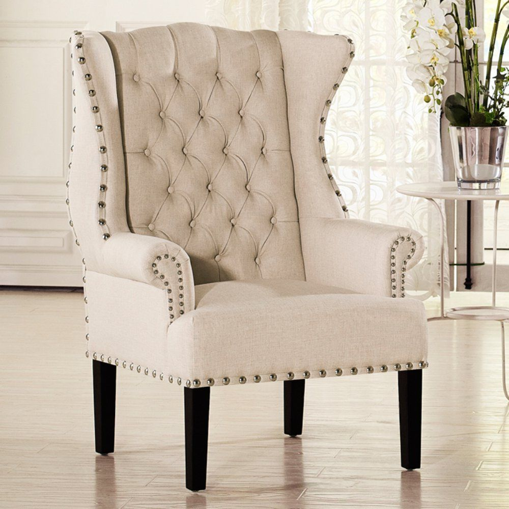 traditional wingback chairs. Baxton Studio Knuckey Wing Back Arm Chair - The Traditional Wingback Silhouette Of This Chairs B
