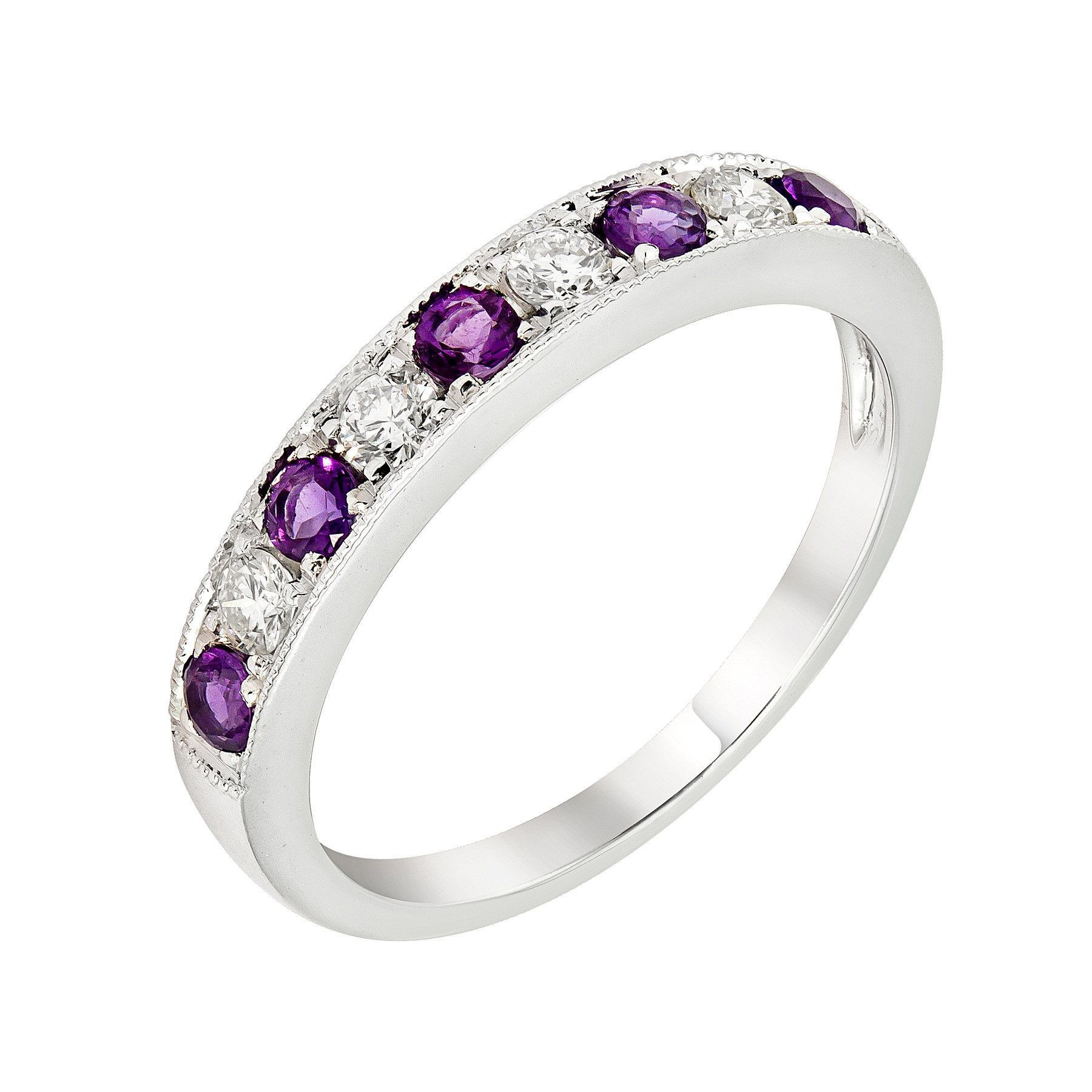 14k White Gold Amethyst Diamond Wedding Anniversary Band