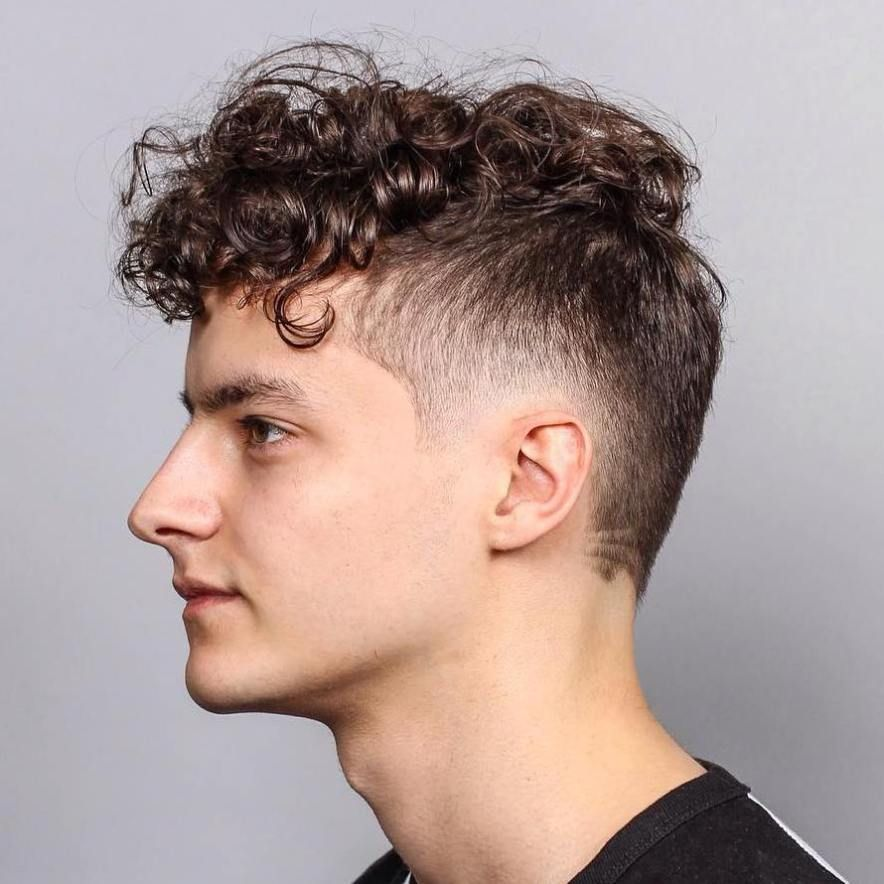 Short Sides Long Top Hairstyle For Curly Hair Men S Curly Hairstyles Drop Fade Haircut Long Hair Styles