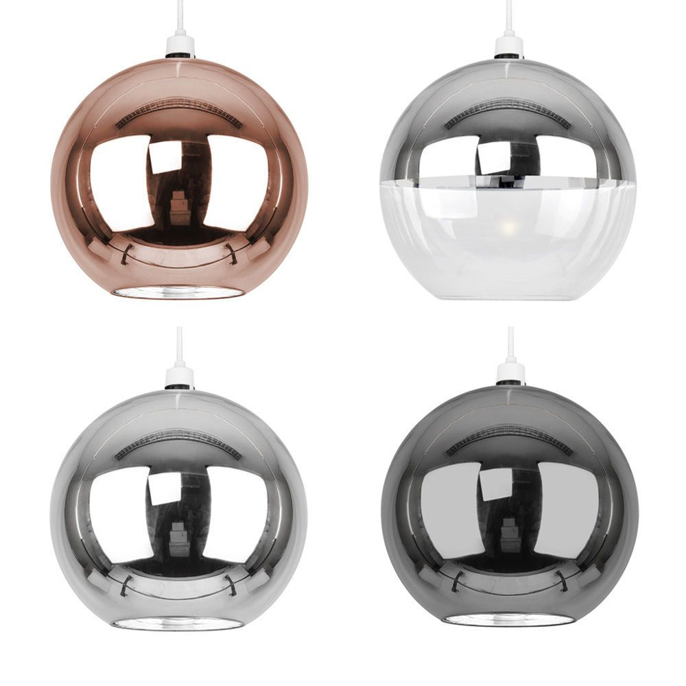 Metallic Copper Chrome Glass Globe Ceiling Pendant