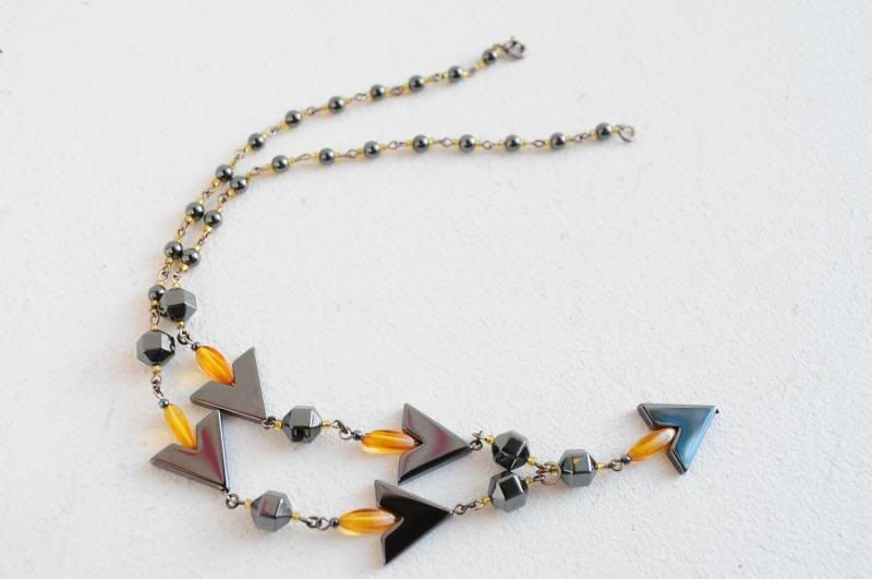 Amber, hématite and silver necklace, handmade at Firedrake Jewellery & Antiques.