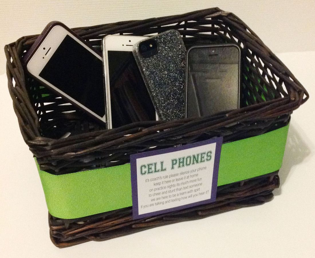 fddbd5a9a2 is your team glued to their phones at practice? create a cell phone basket  to help keep your team focused at practice! #cheerleading #coaching
